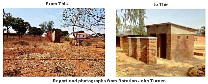 Photograph: Before and after photographs. The before photo shows an empty space. The after photograph shows a newly built tolilet block with two doors.