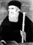 Image: John de Wiclif, translator of the bible into the vernacular language from Latin.